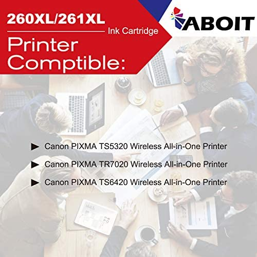 ABOIT Remanufactured Ink Cartridge Replacement for Canon 260XL 261XL 260 XL 261 XL PG-260 XL CL-261 XL ink to use with Canon TS5320 TS6420 TR7020 All In One Wireless Printer (1 Black, 1 Color, 2 Pack): Office Products