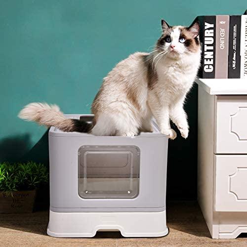 Foldable Cat Litter Box Pan, Kitty Litter Box with Lid, Top Entry Litter Box with Cat Litter Scoop for Pet Cat Reduce Litter Tracking(Gray): Pet Supplies