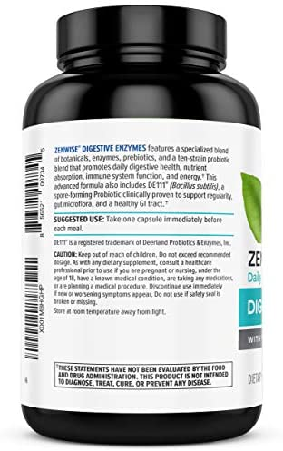 Zenwise Health Digestive Enzymes Plus Prebiotics & Probiotics Supplement, 180 Servings, Vegan Formula for Better Digestion & Lactose Absorption with Amylase & Bromelain, 2 Month Supply: Health & Personal Care