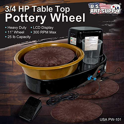 """U.S. Art Supply 3/4-HP Table Top Pottery Wheel with LCD Wheel Speed Display - Includes Foot Pedal and 11"""" Bat - Reversible Spin Direction - Ceramics Clay Pot, Bowl, Cup, Art"""