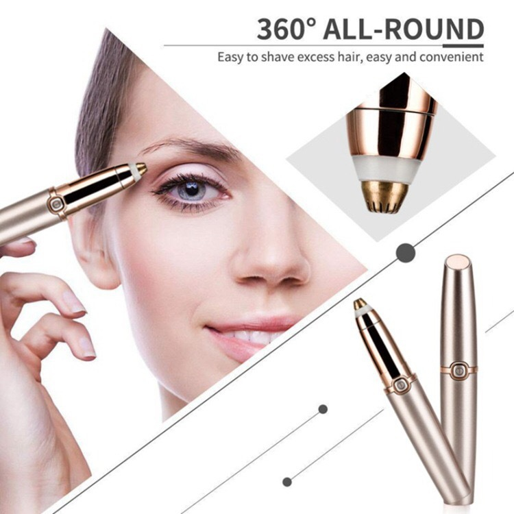 Eyebrow Hair Remover, Electric Eyebrow Trimmer Epilator for Women, Portable Painless Eyebrow Razor with Light, Rose Gold: Beauty