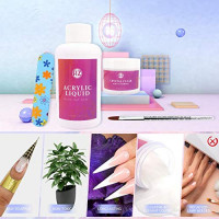 Reazeal Professional Acrylic Powder Kit System, Clear Acrylic Powder 2oz, With Acrylic Nail Brush,Nail Extension Paper Tray: Beauty