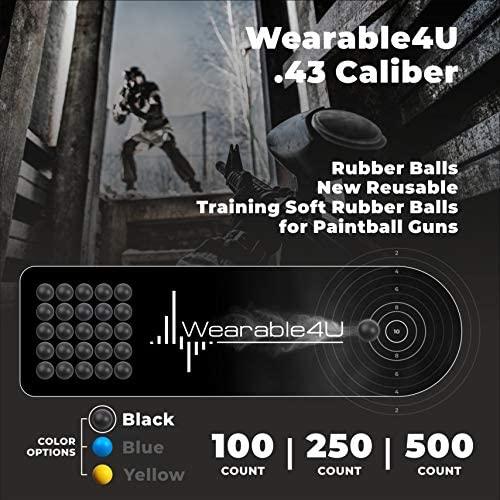 Wearable4U .43 Caliber Rubber Balls New Reusable Training Soft Rubber Balls for Paintball Guns (500 Rounds, Black) : Sports & Outdoors