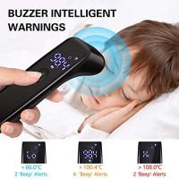 Digital Infrared Forehead Thermometer, WWDOLL Touchless Adult Thermometer for Adults and Kids, Baby Thermometer with Fever Indicator,°C/°F Switchable (Black): Industrial & Scientific