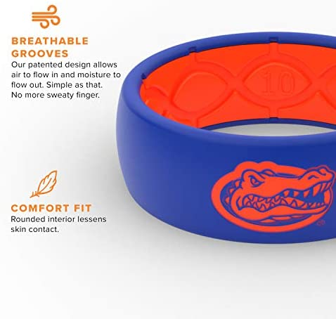 Groove Life Collegiate Silicone Wedding Ring for Men Breathable Rubber Rings for Men, Lifetime Coverage, Comfort Fit Mens Ring : Sports & Outdoors