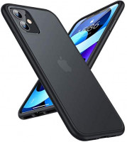TORRAS Shockproof Designed for iPhone 11 Case, [Military Grade Drop Protection] Translucent Hard Back with Soft TPU Bumper, Slim Non-Slip Phone Case for iPhone 11 (6.1''), Matte Black