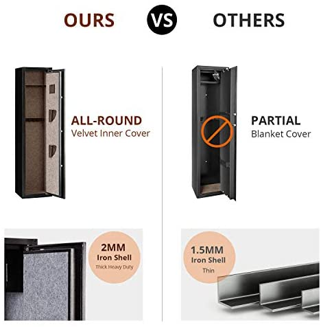 GORTES Rifle Safe, Biometric 2S Quick Access 4-Gun Safe with Removable Shelf, Fingerprint Security Gun Cabinet for Shotgun and Pistol Storage, 2MM Thick Heavy Duty Iron Made, with Handgun Bags : Sports & Outdoors