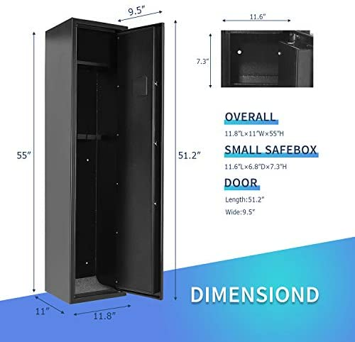 INVIE Large Rifle Safe for Home, Long Gun Safe for 4 Rifle Shotgun, Quick Access Gun Security Storage Cabinet with Removable Shelf for Handguns Ammo : Sports & Outdoors