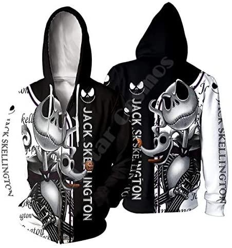 Unisex 3D Printed Cartoon The Nightmare Before Christmas Jack Hoodie Funny Hoodies Sweatshirt: Clothing