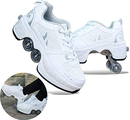 BHDYHM Kick Roller Shoes, 2 in 1 Multifunctional Roller Skates, Comfortable Roller Skates for Boys and Girls : Sports & Outdoors