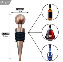 JETKONG Copper Plated Metal Wine Beverage Bottle Stoppers Ball Shape Wine Plugs, Set of 3 (Bronze): Kitchen & Dining