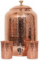 Handicraft Handloom Indian Handmade Hand Hammered Pure Copper Water Dispenser Pot 4 Liter Ayurveda Healing Water Storage Tank Copper Bottle Mug Pitcher With 2 Hammered Glasses: Glassware & Drinkware