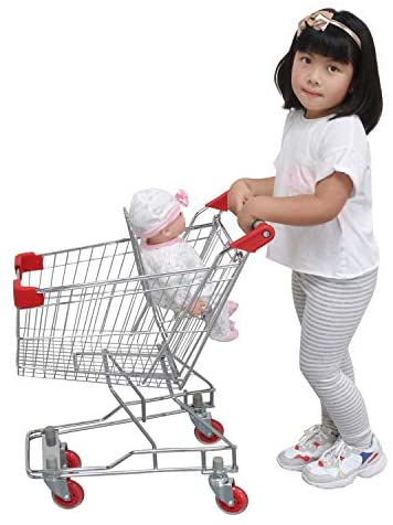 "Emmzoe ""The Little Shopper Real Life Kids Mini Retail Grocery Shopping Cart Toy (Chrome Frame): Toys & Games"