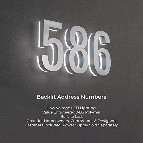 7-Inch Low-Voltage Backlit LED Address Numbers by LN LUMANUMBERS, Durable ABS-Polymer Lighted House Numbers, Weather-Proof, Modern Illuminated Floating Numbers (Black, 5)