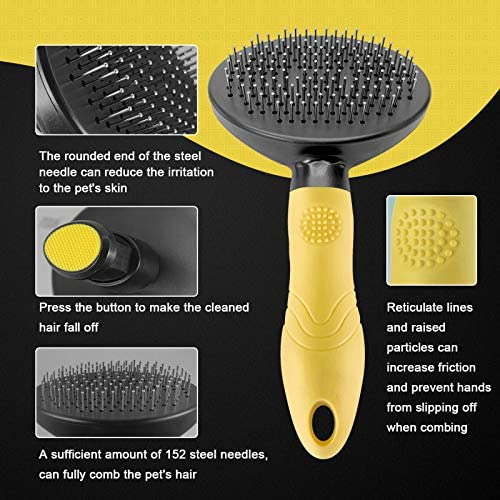 SORADD Dog Brush, self Cleaning Slicker Brush, pet Grooming Hair Removal Tool Brush, Professional Grooming Brush Suitable for All Cats and Dogs(Orange Folding pet Bowl) : Pet Supplies