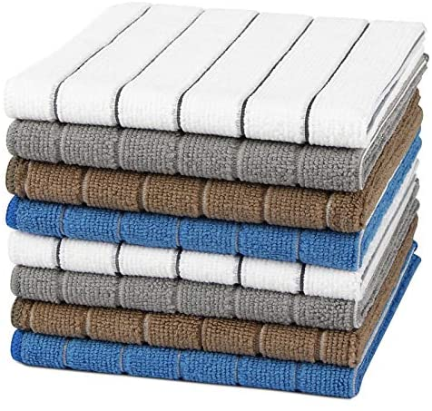 """AIDEA Microfiber Dishcloth Kitchen Towels 12""""x12"""", Super Soft and Absorbent-8 Pack, Multi-Purpose Dish Towels for Home, Kitchen-4 Colors: Health & Personal Care"""