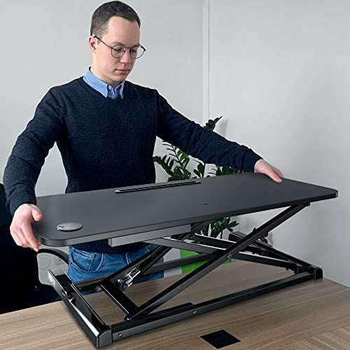RIF6 Adjustable Height Standing Desk Converter - 37.2 Inch Wide Laptop Riser or Dual Monitor Workstation - Easily Sit or Stand with Gas Spring Lift - Black: Kitchen & Dining