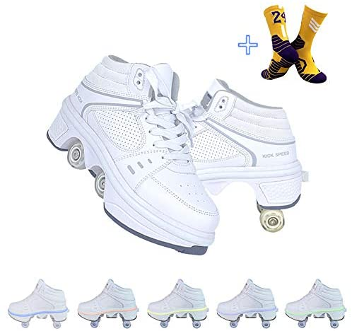 HXA Deformation Roller Shoes Skating Shoes with LED Lights in 7 Colors Adult Children's Automatic Walking Sneakers Skates with Double-Row Deform Wheel, USB Charging, Support 85KG : Sports & Outdoors