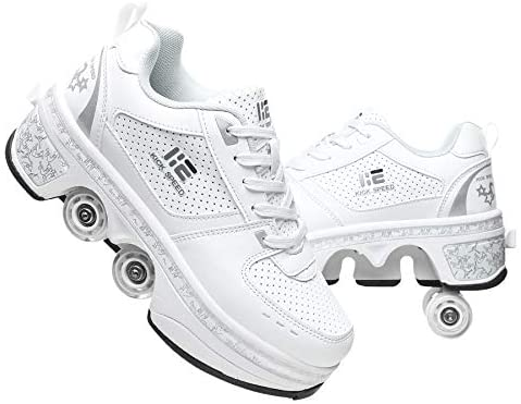 KLT Deformation Roller Shoes Men and Women Double-Row 4 Wheel Adjustable Walking Shoes Pulley Parkour Shoes 2 in 1 Removable Invisible Pulley Skates Skating : Sports & Outdoors