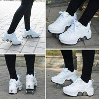 HXA Deformation Roller Shoes Adjustable 2-in-1 Skates Roller as Pulley Shoes and Comfortable Sports Shoes Unisex Waterproof Roller Shoes with LED Lights in 7 Colors, USB Charging : Sports & Outdoors