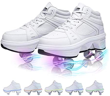 YOUSIOI Roller Skates for Women 4 Wheel Adjustable Quad Roller Skates Boots, Deformation Roller Shoes with LED Lights in 7 Colors Adult Children's Automatic Walking Skates : Sports & Outdoors