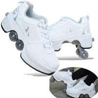 MLyzhe Four-Wheeled Roller Shoes Female Automatic Dual-Purpose Skates Casual Deformation Double-Row Roller Skates (40, White Silver): Home & Kitchen