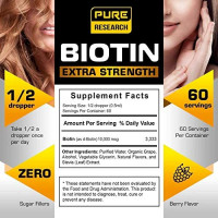 2 Pack Extra Strength 10000mcg Biotin Liquid Drops, 60 Servings, Vegan Friendly, Supports Healthy Hair Growth, Strong Nails and Glowing Skin, 3X More Absorption Than Capsules or Pills: Health & Personal Care