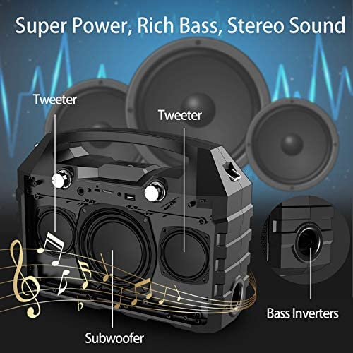 Hotec Wireless Portable PA Speaker System, Powerful Bluetooth Karaoke Machine with Wireless Microphone for Wedding, Party, Teaching, Karaoke, Outdoor and Indoor Activities: Musical Instruments