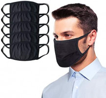 Qualia Soft Comfortable Stretchy Breathable Cloth Protective Face Mask Black Unisex 5 Pack