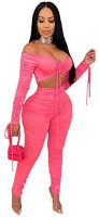 Sexy 2 Piece Outfits for Women - Long Sleeve Crop Top Stacked Leggings Set Tracksuit at Women's Clothing store