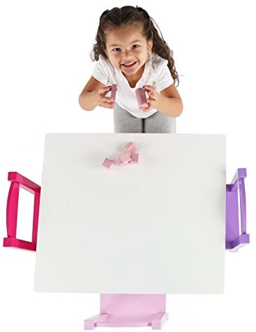 Humble Crew Kids Wood Table & 4 Chair Set Primary, White/Purple/Pink: Furniture & Decor