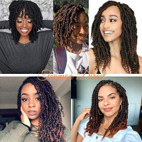 3 Packs Spring Twist Crochet Braids Synthetic Hair Extensions, 2020 Upgrade Low Temperature Fiber Fluffy Braiding Curly Hair Bulk, 8 Inch, 110g/Pack, 30 Strands/pack (1B) : Beauty