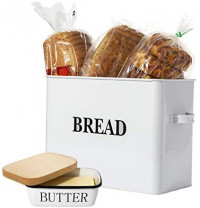 """Houseables Bread Box & Butter Dish Set, 15.25"""" x 12.5"""" x 7"""", Extra Large, Metal, Enameled Storage Containers, Food Bin w/Lid, Rustic Enamelware, Vintage Decor, Farmhouse, Kitchen Counter Keeper: Kitchen & Dining"""