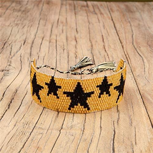 Lyilepu Miyuki Seed Beads Handmade Woven Bracelet for Men Women Bohemia Star Tassels Jewelry (White, OneSize): Clothing