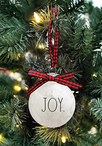 Rae Dunn Christmas Ornaments - Set of 6 Glass Balls - Red, White, Clear - Peace, Love, Joy, Hope, Wish, Cheer - 60mm / 2.36 Inch Hanging Holiday Decorations for Xmas Tree: Home & Kitchen