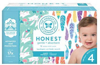 The Honest Company Super Club Box Diapers with TrueAbsorb Technology, Painted Feathers & Bunnies, Size 4, 120 Count: Health & Personal Care