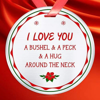 Elegant Chef I Love You a Bushel & a Peck & a Hug Around The Neck Christmas Ornament- Xmas Holidays Decoration Gift for Mom Grandma- 3 inch Flat Stainless Steel: Home & Kitchen