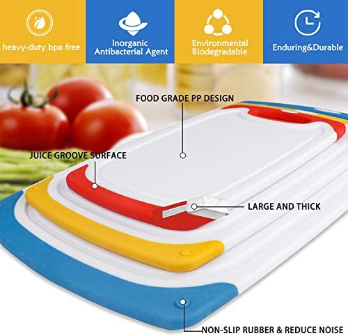 Cutting Boards for Kitchen, Plastic Chopping Board Set of 4 with Non-Slip Feet and Deep Drip Juice Groove, Easy Grip Handle, BPA Free, Non-porous, Dishwasher Safe: Kitchen & Dining