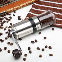 Manual Coffee Grinder - Hand Coffee Mill with Ceramic Burrs 6 Adjustable Settings - Portable Hand Crank (Straight): Kitchen & Dining
