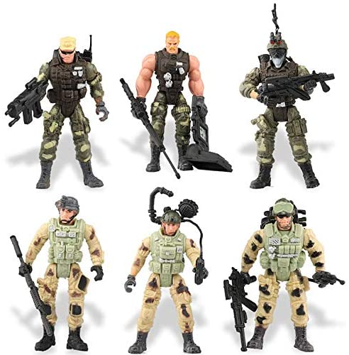 Liberty Imports 12 Pack - Special Forces Army Combat SWAT Soldier Action Figures with Military Weapons and Accessories (4-Inches): Toys & Games