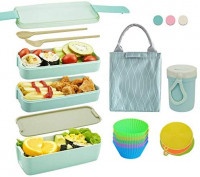 Bento Box Japanese Lunch Box Kit (11 PCS) 3-In-1 Compartment, Leak-proof Bento Lunch Box Meal Prep Containers with Utensils, Bento Boxes for Adults/Kids (Green): Kitchen & Dining