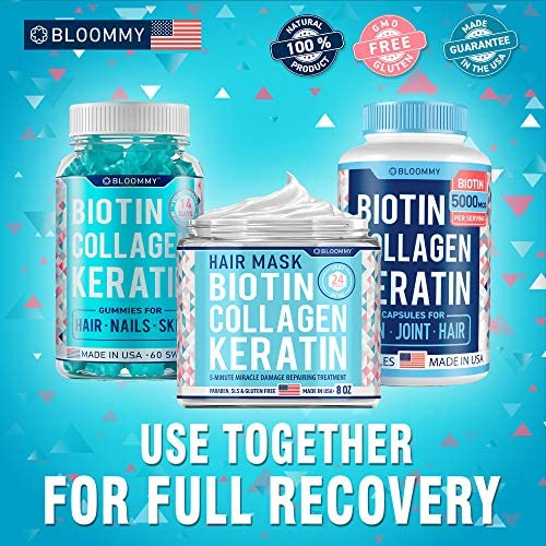 Biotin Collagen Keratin Treatment - Made in USA - Natural Keratin Treatment for Dry & Damaged Hair - Hair Mask with Collagen Hair Vitamin Complex for Best Hair Repair & Nourishment - 8 oz: Health & Personal Care