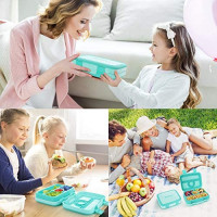 Kids Lunch Box Bento Box for Kids, Nomeca BPA-Free Leak Proof 4-Compartment Lunch Container with Spork, Microwave Safe Portion Control Meal Fruit Snack Packing for Girls Toddlers School Travel - Teal: Kitchen & Dining