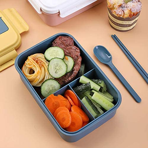 Bento Box for Kids Adult Women Lunch Box Japanese Style Eco Friendly LunchBox 3 Compartment Leak Proof Include Utensils Set Microwave Safe Easy to Clean(Blue+Yellow, 3 Compartment): Kitchen & Dining