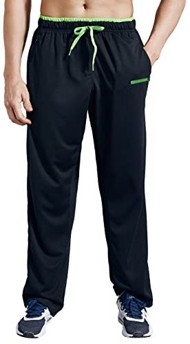 ZENGVEE Men's Sweatpants with Zipper Pockets Open Bottom Athletic Pants for Jogging, Workout, Gym, Running, Training at Men's Clothing store