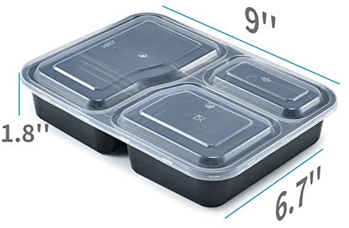 Meal Prep Containers, 3 Compartment 32oz 20 Pack, Reusable Food Storage Container, Food Prep Containers, Food Container with Lids, Bento Lunch Box, Disposable, Microwavable, Dishwasher Freezer: Kitchen & Dining