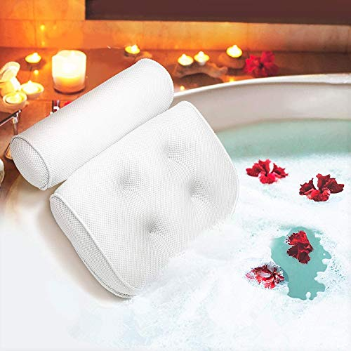 Bath Pillow Bathtub Pillow with 6 Upgraded Non-slip Suction Cups, Extra Thick Spa Bathtub Cushion for Head, Neck, Back and Shoulder Support, Fits Jacuzzi & Hot Tubs (Blue) : Beauty