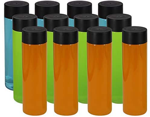 ZMYBCPACK 12 Pack 13.6 OZ (400 ml) Clear PET Plastic Juice Bottles With Black Lids- Plastic Smoothie Bottles Ideal For Juice, Milk and Other Beverage: Kitchen & Dining