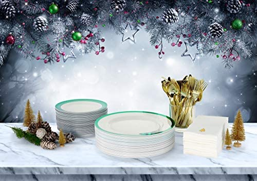 Premium Disposable Christmas Plates Dinnerware Set: Elegant Plastic Party Plates In Ivory with Green Trim, Linen-feel Napkin, Plastic Silverware Set For 25 Guests - By Madee: Home & Kitchen