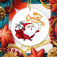2020 Christmas Tree Ornament, Merry Christmas Cute Santa Claus with Mask Toilet Paper Xmas Tree Hanging Decoration - 3 inch Circle Ceramic Double-Sided Printed Holiday Christmas Family & Friends Gift: Kitchen & Dining